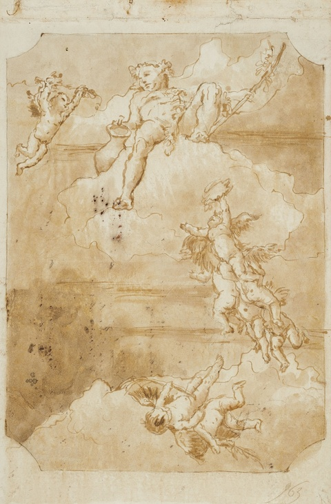 Venetian School 18th century - Design for a Ceiling Painting with Putti and Bacchus