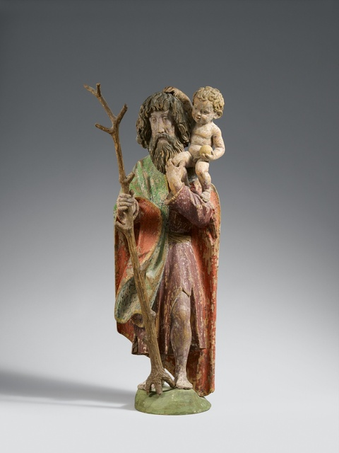 Probably Swabia circa 1470/80 - A wooden figure of Saint Christopher, probably Swabia, circa 1470/80