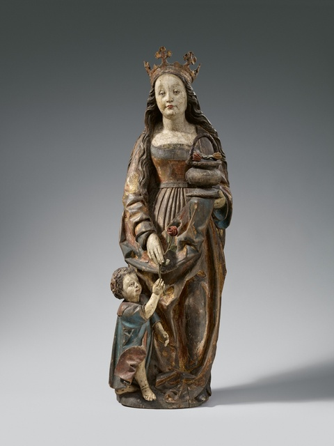 Probably Swabia late 15th century - A late 15th century wooden figure of Saint Dorothy, probably Swabia