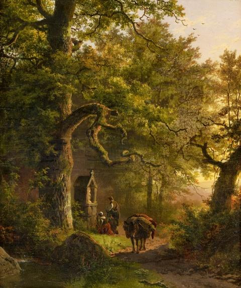 Barend Cornelis Koekkoek - Waldige Landschaft mit Andachtsbild