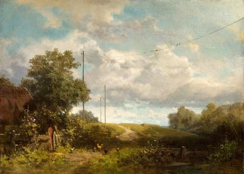 Carl Spitzweg - Landschaft mit Schwalben