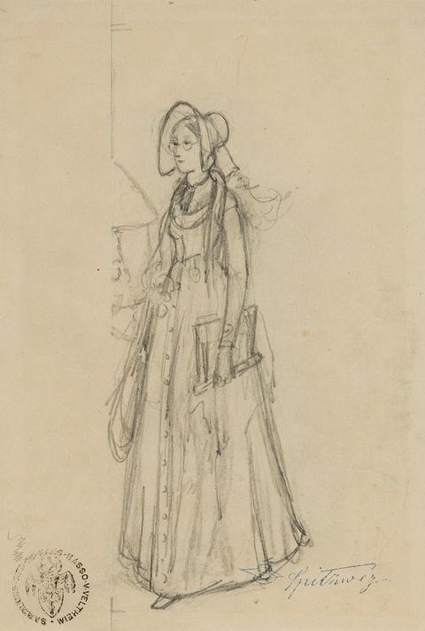 Carl Spitzweg - Skizze einer jungen Frau mit Hut und Brille