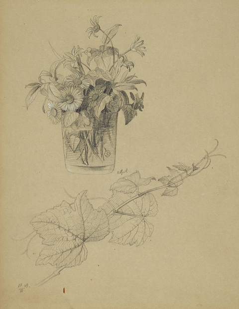 Johann Wilhelm Preyer - Study with a Vase of Flowers and Vines