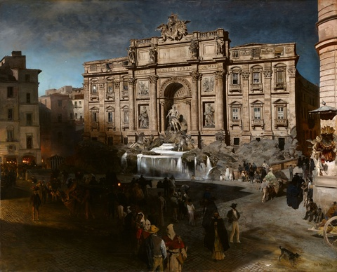 Oswald Achenbach - The Fontana di Trevi by Night