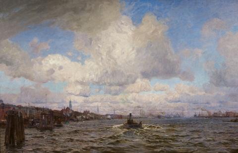 Friedrich Kallmorgen - Ansicht des Hamburger Hafens