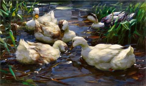 Alexander Koester - Fünf Enten im Teich