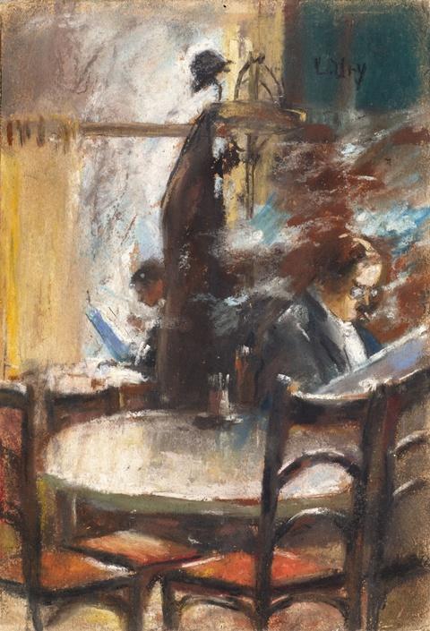 Lesser Ury - Zwei Zeitung lesende Herren im Café, Berlin