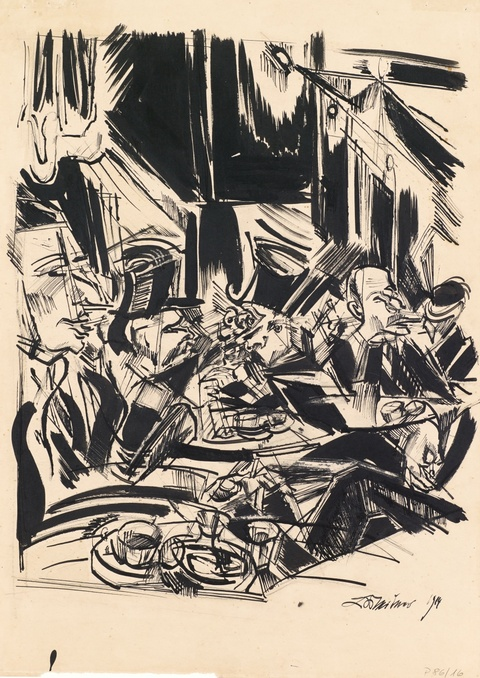 Ludwig Meidner - Caféhaus (Caféhausszene)