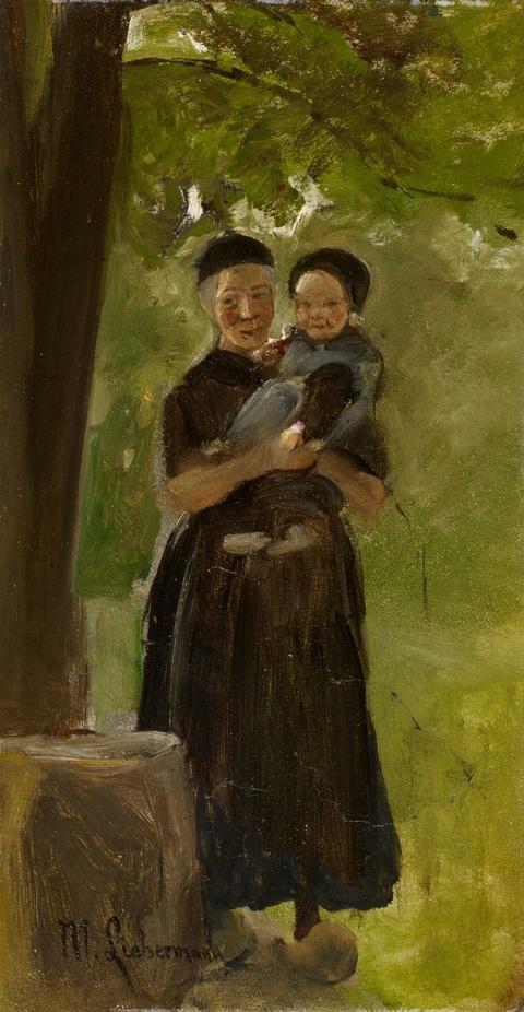 Max Liebermann - Mutter mit Kind unter Bäumen stehend