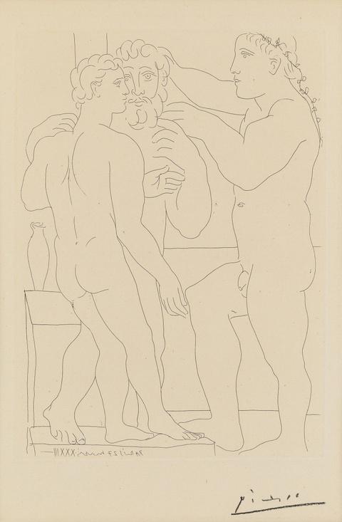 Pablo Picasso - Jeune Sculpteur grec avec sa sculpture: Un Homme et un Éphèbe