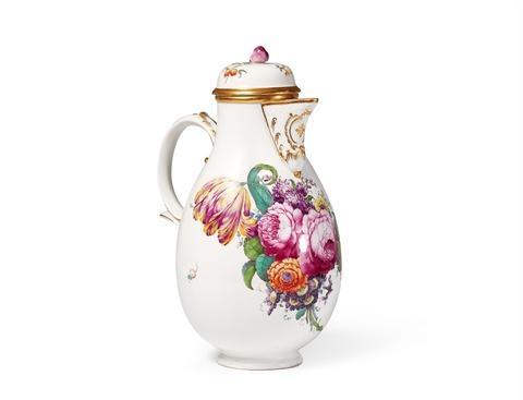 "A Höchst porcelain coffee pot with ""fleurs fines"" decor -"