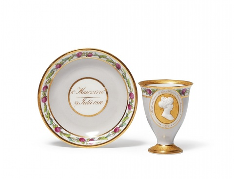 A Berlin KPM porcelain cup and saucer commemorating Queen Louise -