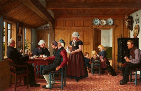 A Frisian Family Drinking Coffee -