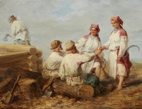 Wilhelm Amandus Beer - Russische Holzfäller bei der Rast