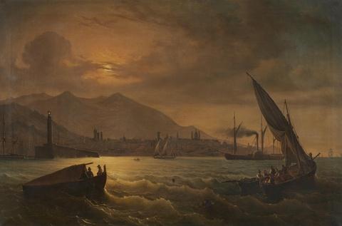 Anton Castell - Harbour Scene at Dusk
