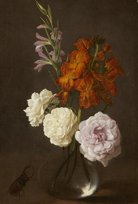 Deutscher Künstler des 19. Jahrhunderts - Stillleben mit Gladiole, Goldlack, Rosen und einem Hirschkäfer