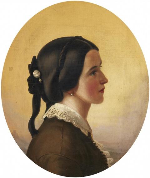Wohl Italienischer Künstler des 19. Jahrhunderts - Bildnis einer jungen Dame vor weiter Landschaft