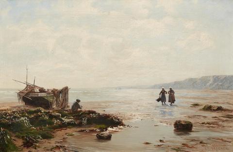 Eduard Spoerer - Breton Coastal Scene with a Fisher and Mussel Gatherers