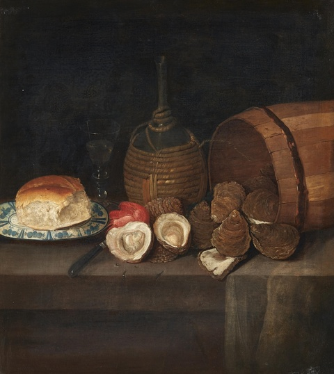 Netherlandish School circa 1700 - Still Life with Oysters, Bread, and Wine