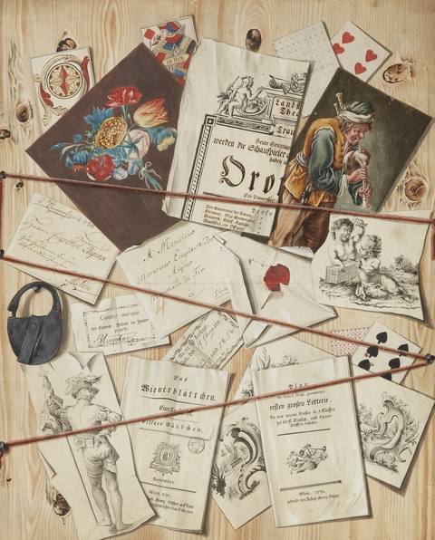 Austrian School late 18th century - Trompe l'oeil with Papers pinned to a Board (Quodlibet)