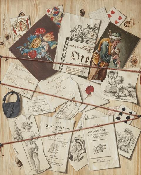 Österreichischer Meister des späten 18. Jahrhunderts - Trompe l'oeil mit Schriftstücken an einem Holzbrett (Quodlibet)