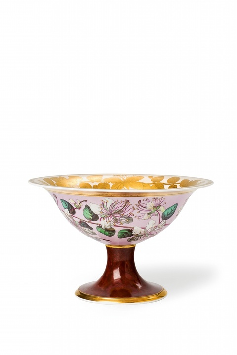 A Royal Berlin KPM porcelain footed bowl with botanical decor -