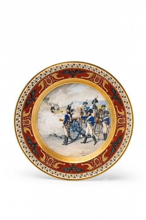 Teller mit Darstellung eines preußischen Artillerie-Corps -