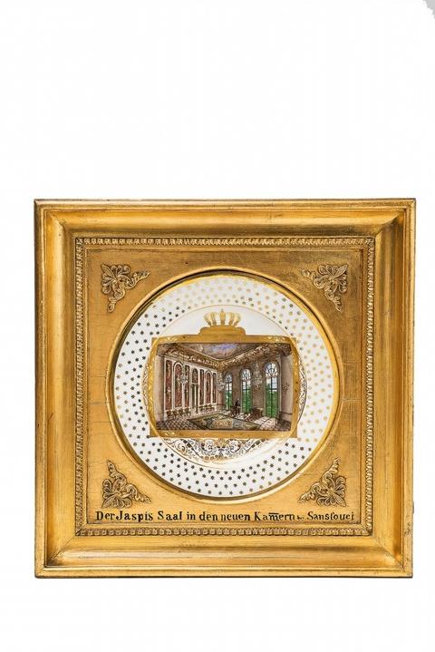 """Teller mit Ansicht """"Der Jaspis-Sall in den neuen Kamern bey Sanssouci"""" -"""