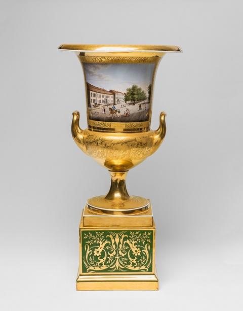 """Bedeutende signierte Kratervase mit Ansicht """"Die Linden-Promenade in Berlin"""" 1824 ausgeliefert an den Herzog von Kalabrien, den späteren König beider Sizilien -"""