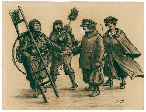 Heinrich Zille - Gruppe mit weiblichen Schornsteinfegern und Uniformierten