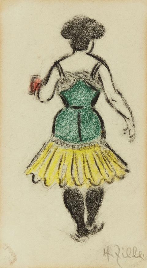 Heinrich Zille - Kellnerin im Nachtlokal (Rückenfigur)