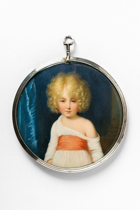 A portrait miniature of a young girl -
