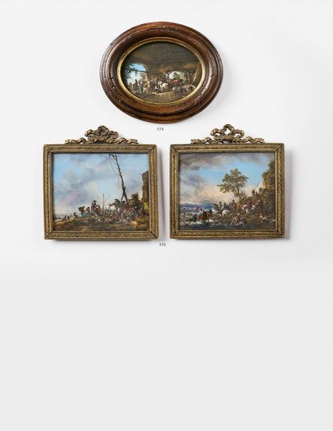 Paar Landschaften mit Staffage -