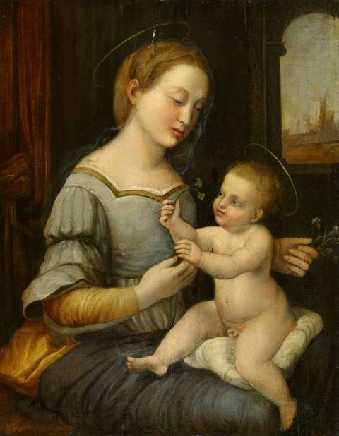 Italienischer Meister des 16. Jahrhunderts - Madonna mit Kind nach Raphael