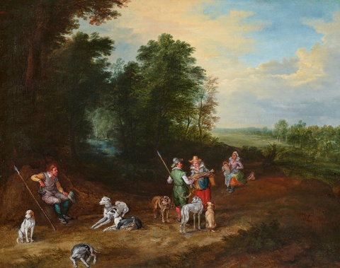 Jan Brueghel the Younger - Hunting Party in a Wooded Landscape