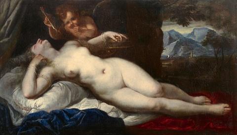 Italienischer Meister um 1660 Venezianischer Meister - Schlafende Venus und Amor