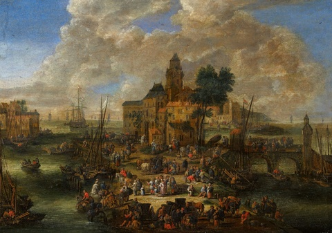 Pieter Casteels the Younger - A Busy Harbour Scene