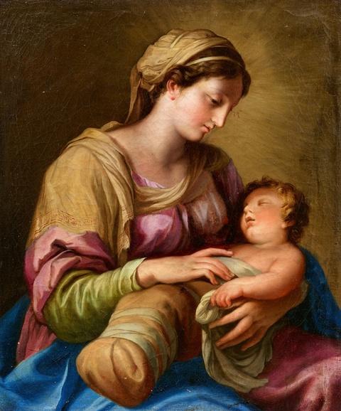 Italienischer Meister um 1700 - Madonna mit schlafendem Kind