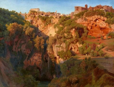 Ernst Fries - Die Wasserfälle von Tivoli mit dem Ponte Lupo sowie dem Vesta- und Sibyllentempel