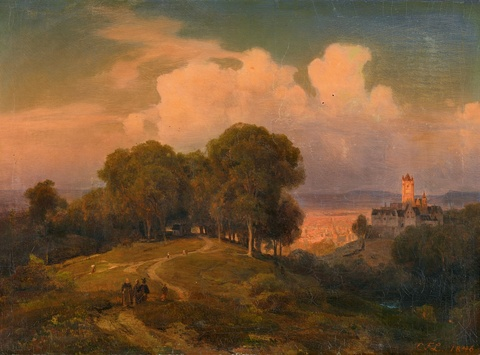 Carl Friedrich Lessing - Evening Mood with a Castle