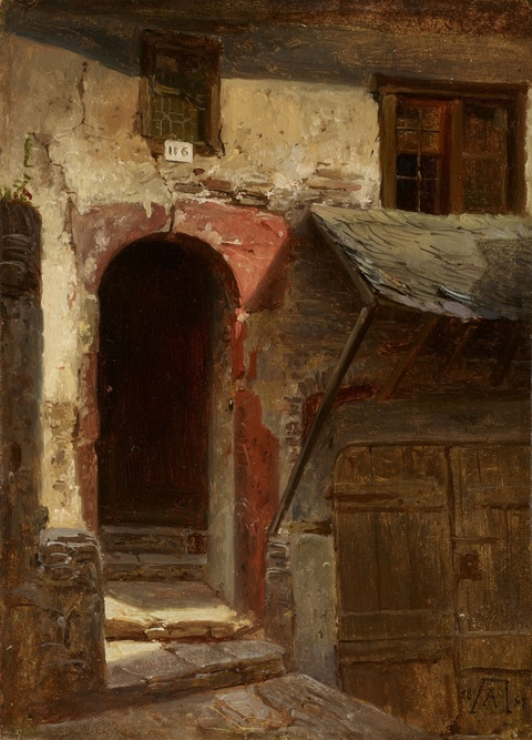 Andreas Achenbach - Architectural Study with a House Entrance and Cellar Entrance