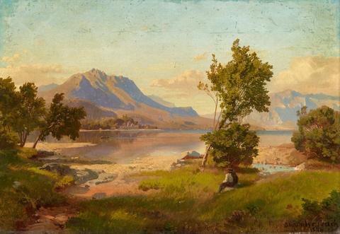 Oswald Achenbach - Alpine Landscape with a Lake