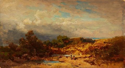 Carl Spitzweg - Hügelige Landschaft mit zwei Figuren