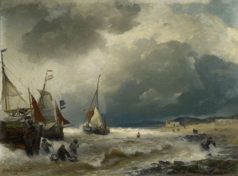 Andreas Achenbach - Beach Scene with Sailing Ships