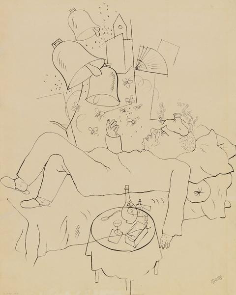 George Grosz - Es klingt wie fernes Glockenläuten. Verso: Doppelstreife