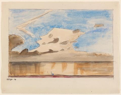 Lyonel Feininger - Ohne Titel (Wolken über dem Meer mit zwei Figuren am Strand)