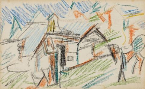 Ernst Ludwig Kirchner - Sennhütte auf der Staffelalm mit Bauer und Pferd