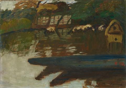 Otto Modersohn - Herbst an der Wümme mit Booten, Entenhaus, Kühen und Wilkens Scheune