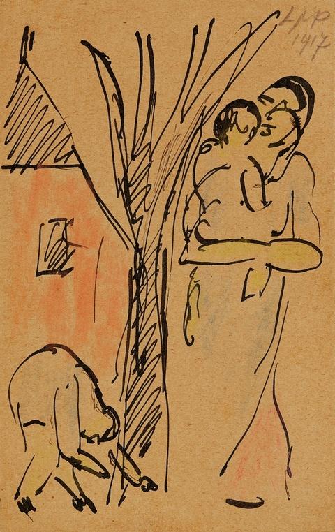 Hermann Max Pechstein - Mutter mit zwei Kindern im Garten