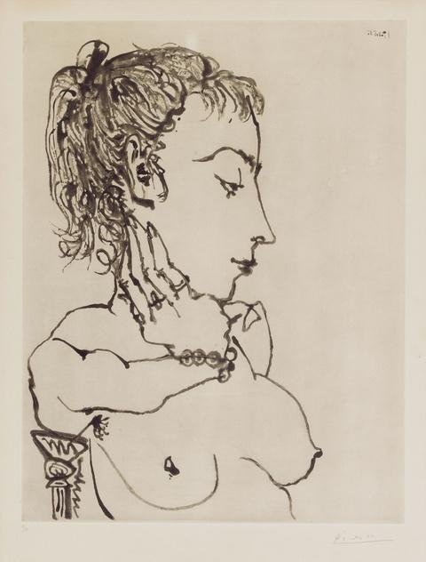 Pablo Picasso - Buste de Femme à la queue de cheval: Jacqueline